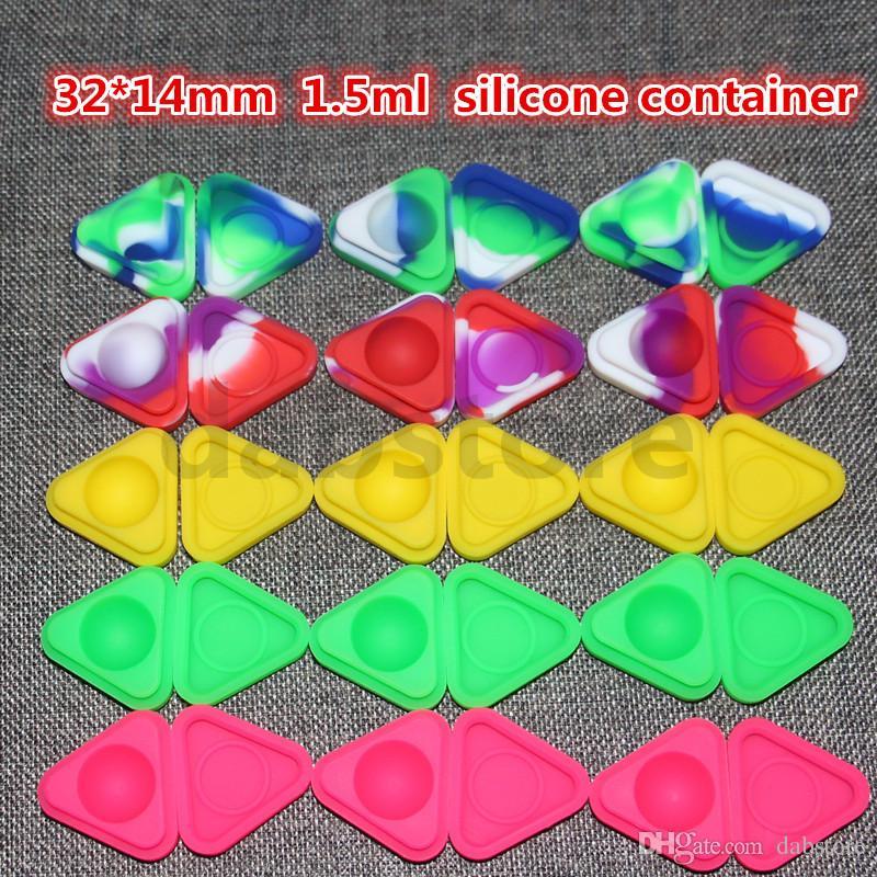 Contenants de cire antiadhésifs boîte en silicone triangle de 1,5 ml Conteneur en silicium Contenants de cire antiadhésifs de qualité alimentaire, contenants de stockage pour bacs sans huile