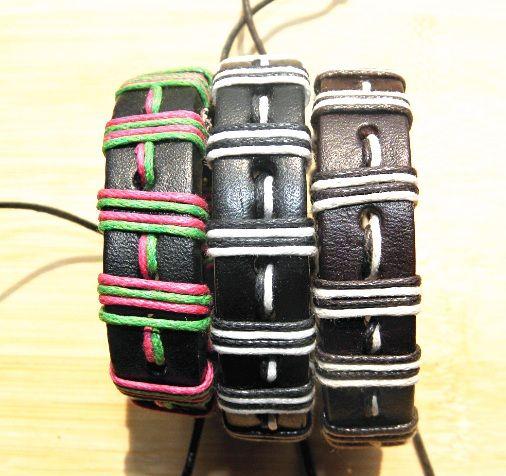المجوهرات المصنوعة يدويا معصمه الرجال والنساء أزياء حقيقية جلد مزين أساور الشرير القنب حبل العشاق جديدة مزيج الألوان في الأوراق المالية 12p جيم