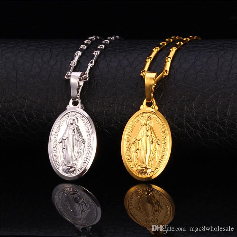 U7 Virgen María collar pendientes conjunto de moda platino / 18 K oro / oro rosa colgantes plateados conjuntos de joyería religiosa para mujeres accesorios cruzados