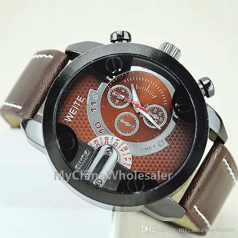 새로운 도착 남성 스포츠 시계 3 작은 다이얼로 PU 가죽 WristBand 남성 시계 손목 시계 남성 손목 시계와 함께 큰 다이얼