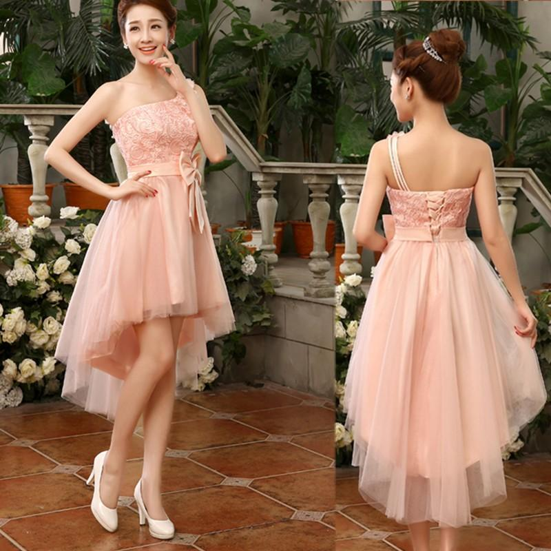 2019 New Fashion One Shoulder High Low Bridesmaid Dress With Bow