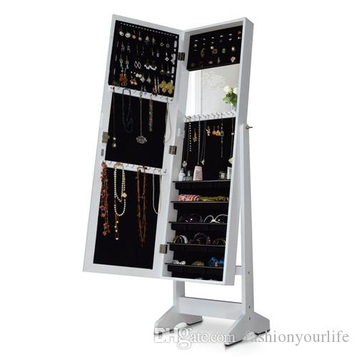 wooden mirror jewelry armoire in white cabinet walmart