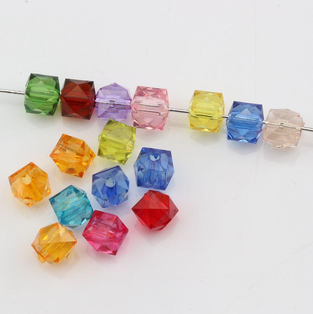 Caldo ! Mix colore acrilico trasparente sfaccettato quadrato perline 7MM gioielli fai da te