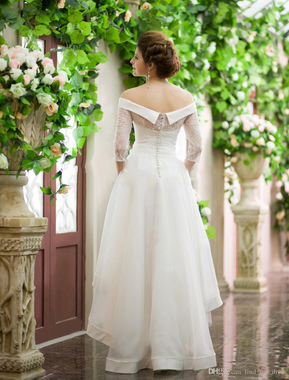 Estilo vintage Vestidos de novia altos y bajos Fuera del hombro Media manga Cinturón de flores Encaje Organza Corto Frong Largo Volver Vestidos de novia personalizados W686