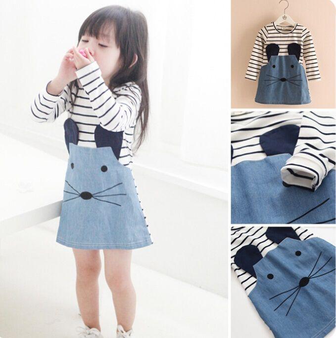 5f66854ef025 Cute Baby Girl Jeans Cat Denim Dress Kids Cat Stripes Dress Blue ...