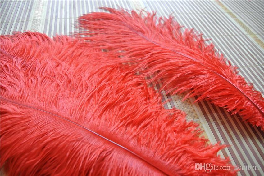 الجملة 100 قطع 14-16 بوصة أعمدة ريش النعام الأحمر ل لوازم الزفاف المركزية decoraction الحدث الحزب احتفالي