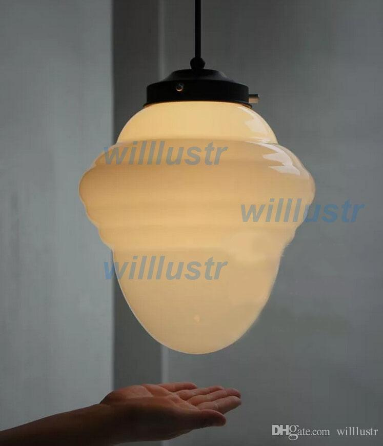 Discount Milk Glass Pendant Lamp Icecream Pendant Light Vintage Old School  Handmade White Glass Lamp Art Deco Suspension Lighting Dinning Room Con03  Blue ...