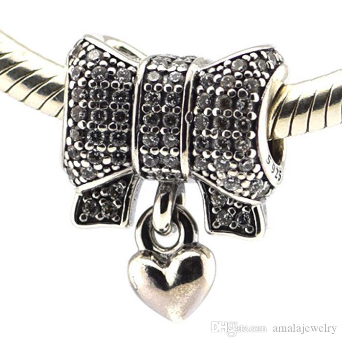 2015 Winter 925 Sterling Silver Heart and Bow Charm Bead with Red Enamel & Clear Cz Fits European Pandora Jewelry Bracelets & Necklace