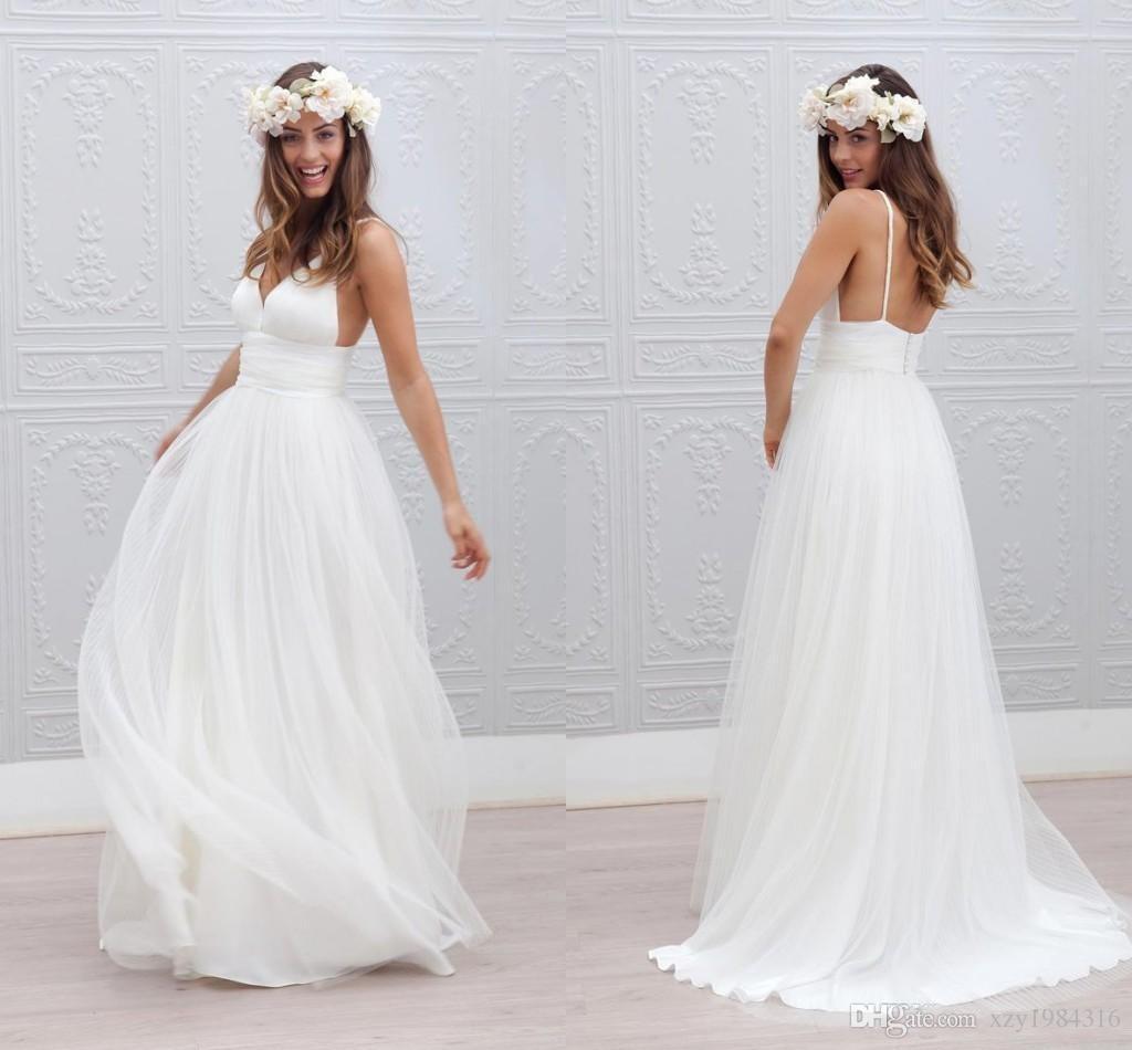 Discount bohemian beach wedding dresses spaghetti straps for Pure white wedding dress