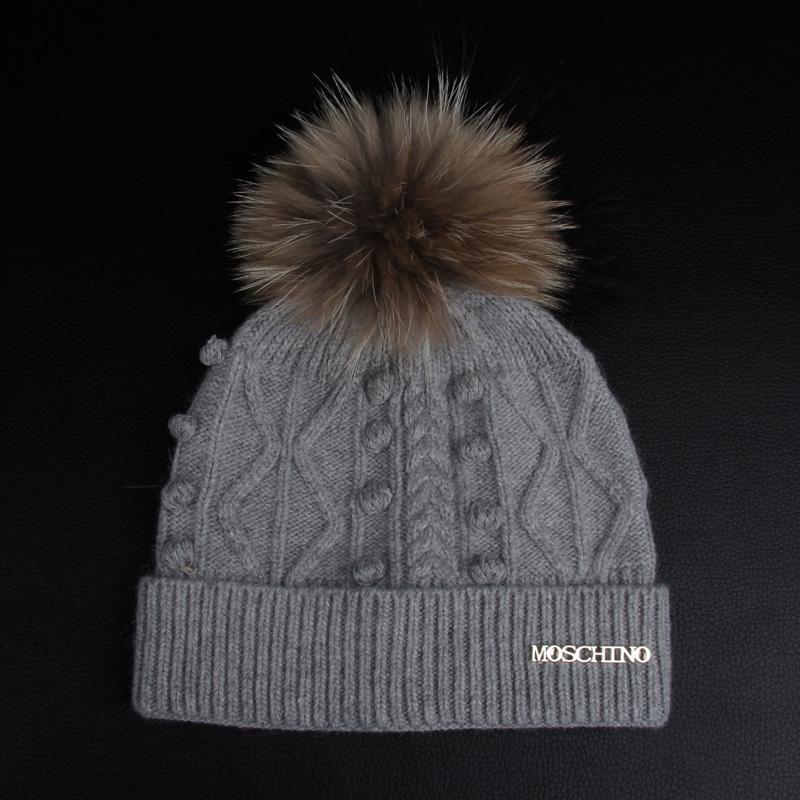 Women Stylish Winter Knitting Hats Bobble Hat Removable Raccoon Fur ... 12b67ad76b2