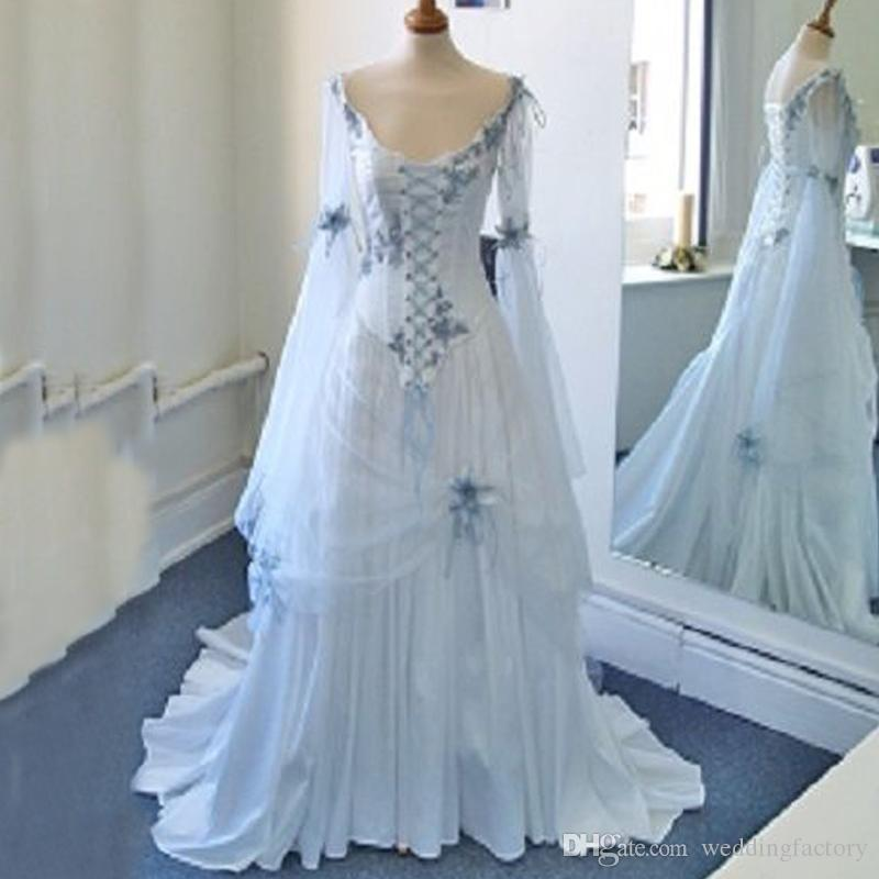 Discount Vintage Celtic Wedding Dresses White And Pale Blue Colorful Medieval Bridal Gowns Scoop Neckline Corset Long Bell Sleeves Appliques Flowers