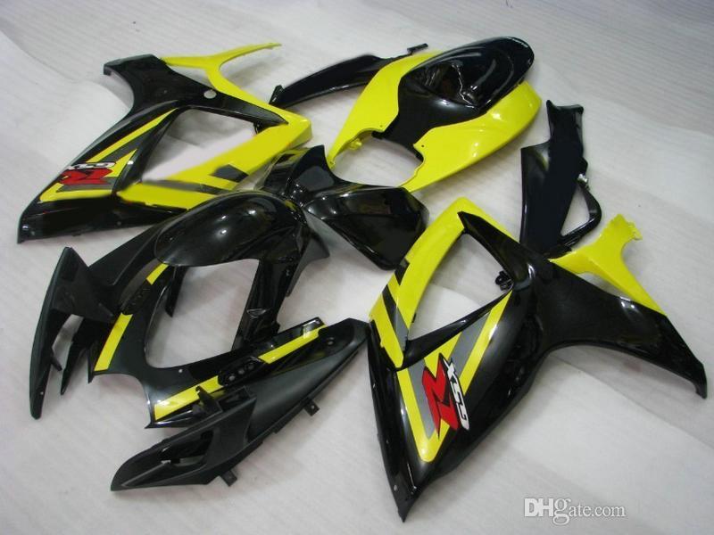 Carrocería personalizada para Suzuki GSXR 600 750 06 07 Kit de carenado GSX-R600 R750 2006 2007 Negro / amarillo Motocycle