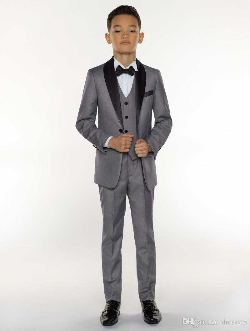 Boys Tuxedo Boys Suits Boys Formal Suits Tuxedo for Kids Tuxedo Formal Occasion Grey Suits For Lillte Men Three PiecesJacket+Pant+Vest
