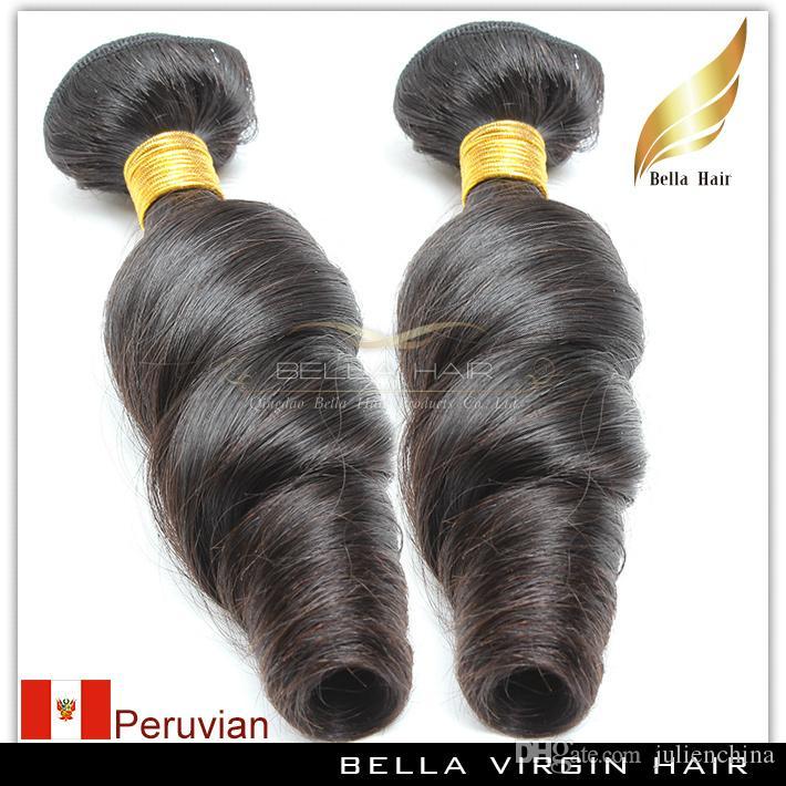 Bella Hair® 8A Funmi Peruwiańska Falista Luźna Fala Naturalne Czarne Włosy Rozszerzenie Nieprzetworzone Wątek