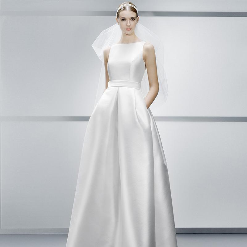 Discount Bateau Neck A Line Wedding Dresses Simple Satin Cheap With Pockets Vintage Modern Bridal Gown Fitted