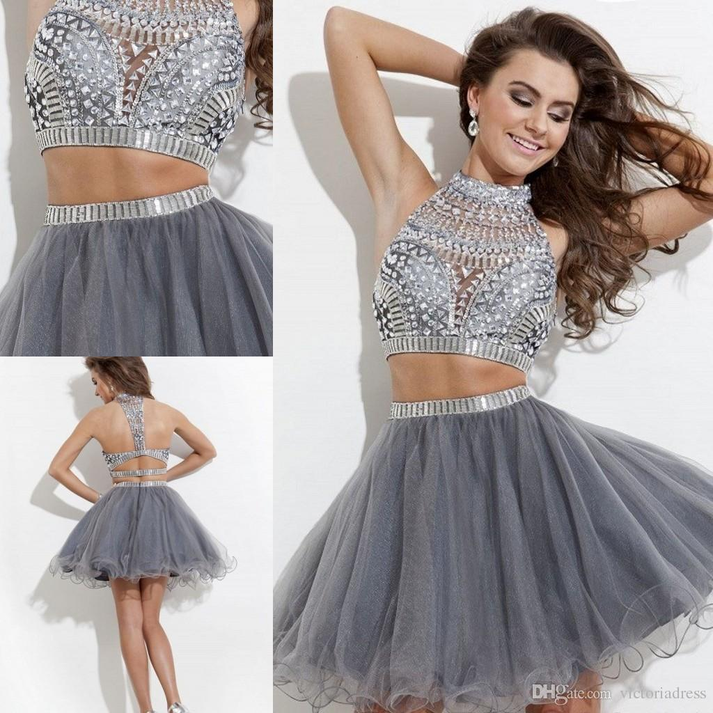 Two Piece Short Mini Prom Dresses With Rhinestones Crystal High ...