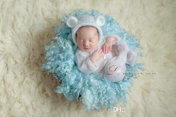 5c2257c7b Crochet Mohair Hooded Romper Baby Overall Outfit Newborn Knit Mohair Bonnet  And Romper Sets Onesie Newborn Photography Props Syringe Tube Feeding Free  ...