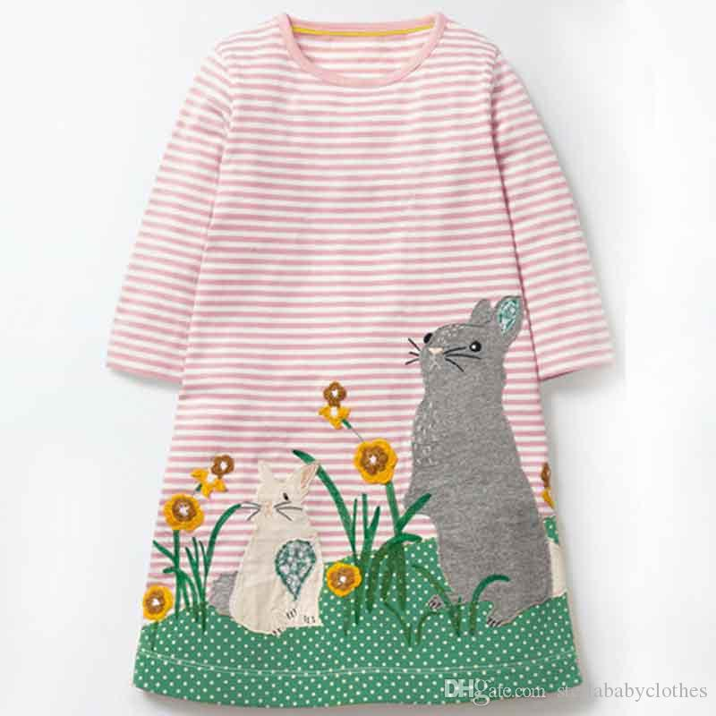 Europe Rustic Baby Girls Clothing Soft Kids Clothing Spring Autumn Cartoon Cloudy Printed Girls Dress Blue White Striped Children Clothes