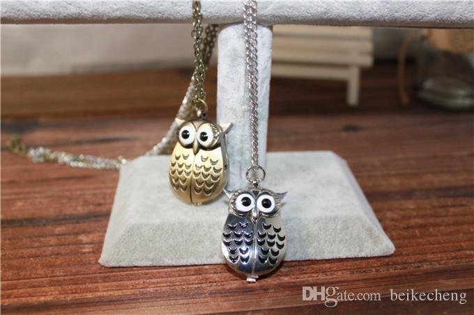 Nette Weinlese-Nachteulen-Halsketten-hängende Quarz-Taschen-Uhr-Halsketten-Eule passt PW005 auf