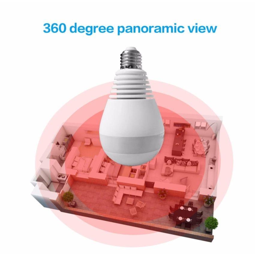 Hot Seller 10Pcs Bulb Camera V380 Panoramic Camera 960P HD P2P wireless 360  Degree Home Surveillance CCTV System Smart Video Recorder