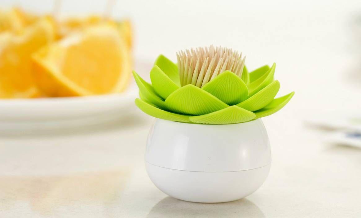 Hot Chic Lotus Flower Toothpick Holder Dispenser Box Creative