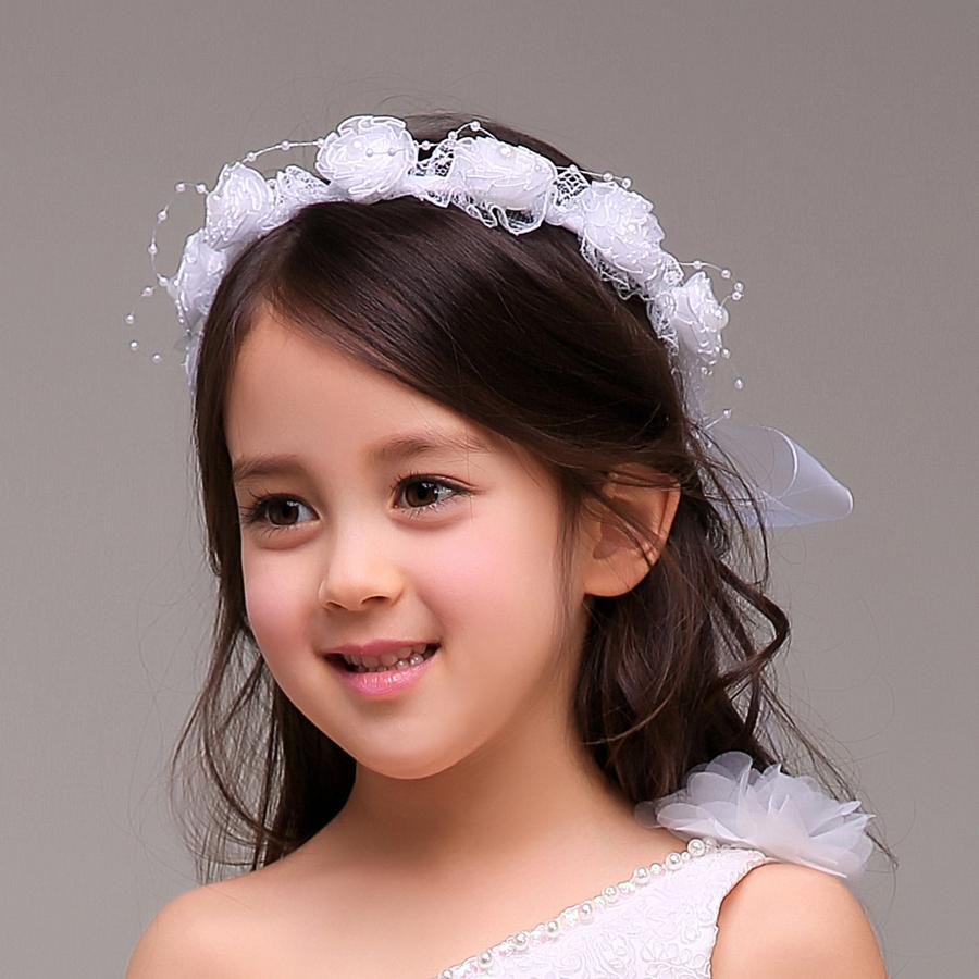 Beautiful baby hair accessories - White Pink Flower Girl Head Pieces Flower Garlands Veils Princess Hair Jewelry Kids Accessories Hair Garland Kids Formal Wear Accessories Crochet Headband