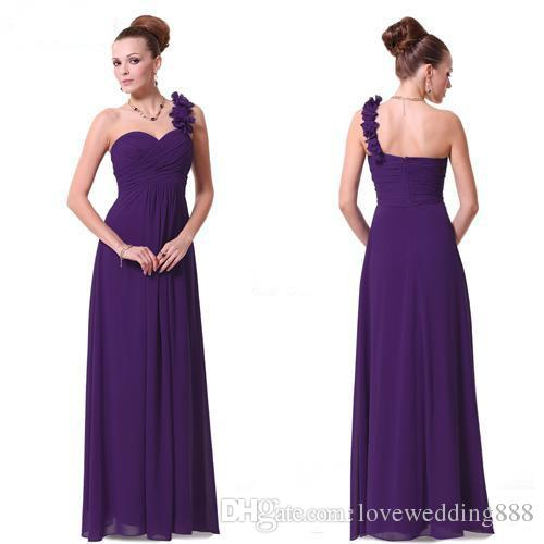 Generous Dress Long Purple Bridesmaid Dresses A Line One Shoulder ...