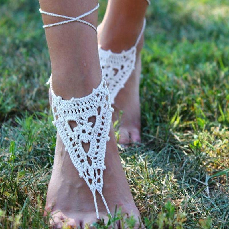 Compre Crochet Beach Wedding Zapatos De Novia Summer Beach Foot Jewelry  Sandalias Descalzas 4df31c37cb7