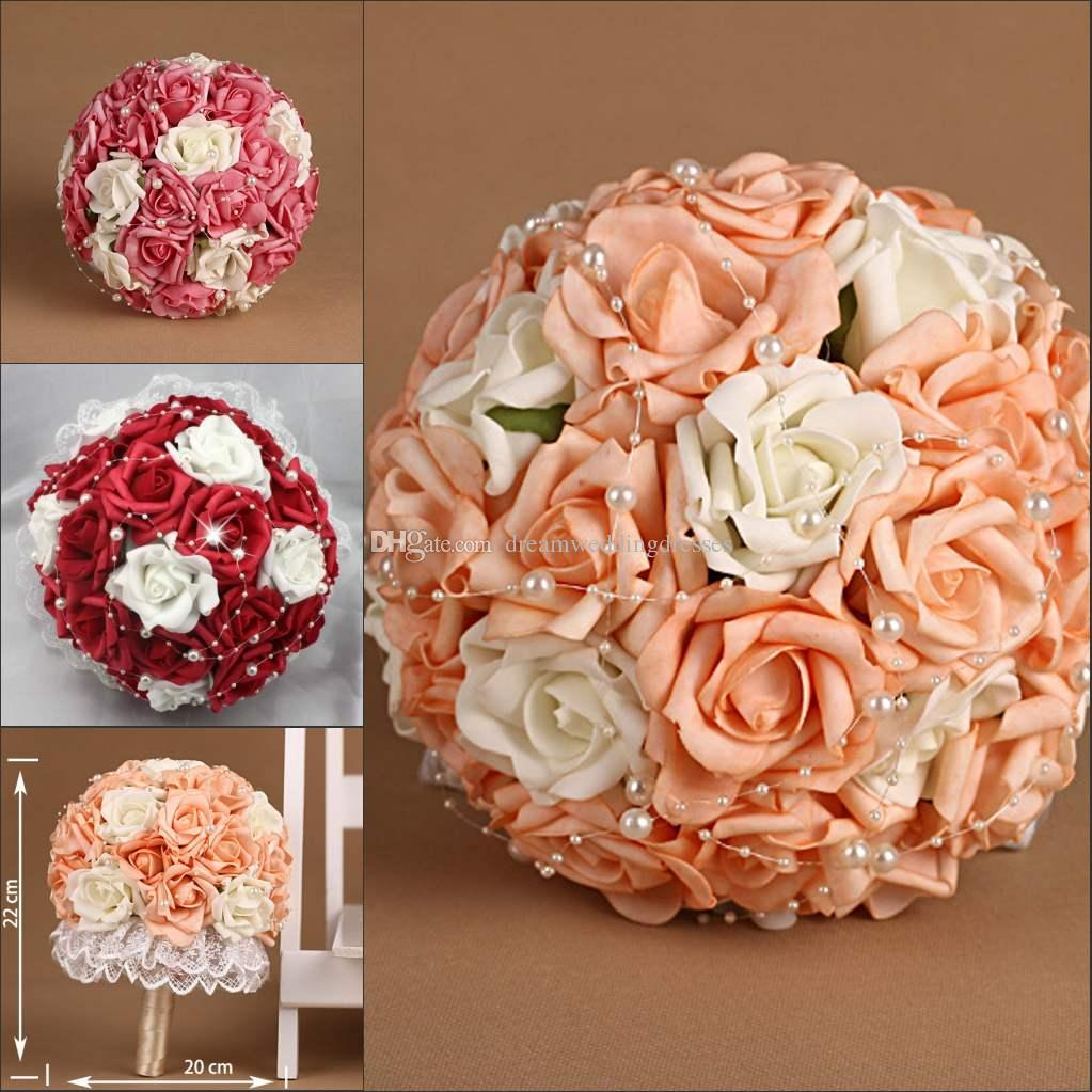 2016 elegant simple wedding bouquets hot sales cheap in stock rose ball flower with beading peal. Black Bedroom Furniture Sets. Home Design Ideas