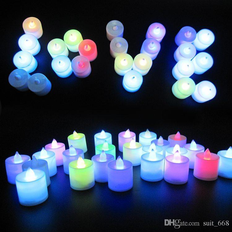 연휴 항목 장식 촛불 Nightlight 빛나는 조명 플래시 촛불 컬러 촛불 다채로운