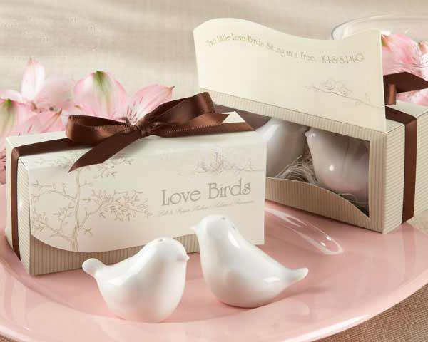 Love Birds In The Window Ceramic Salt & Pepper Shakers Wedding Favor For Party Gift with retail gift box