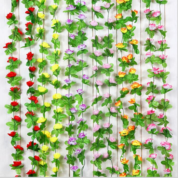 2.5 m Artificial Rose Flower Vine Wisteria Garland Home Living Room Air-conditioning Ducts Hanging Ornament Wedding Decor