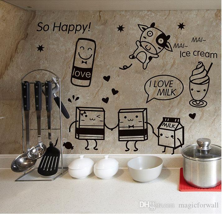 Cartoon Happy Cooking Art Mural Decor Poster Kitchen Tile Cabinet Refrigerator Decal Sticker Sponge Baby Milk Kitchen Wallpaper Graphic
