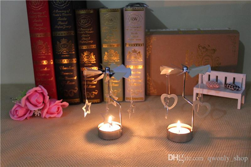 Romantic Rotation Candlestick Candle Holders Revolving Door Windmill Candleholder Candle Tea Light Holder Wedding Christmas Decorati