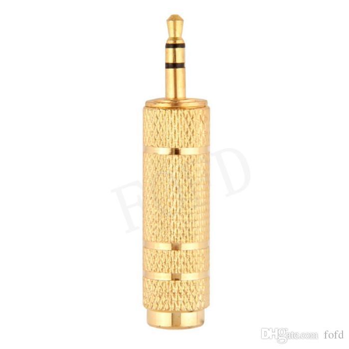 3,5mm männlich 6,5mm weibliche mikrofon kopfhörer audio adapter stereo gold stecker konverter 300 stücke