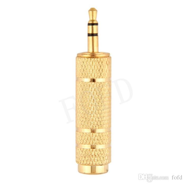 """3.5mm Male to 6.5mm 1/4"""" Female Jack Plug Stereo Headphone Microphone Audio Adapter Converter AV Gold Plated Wholesale"""