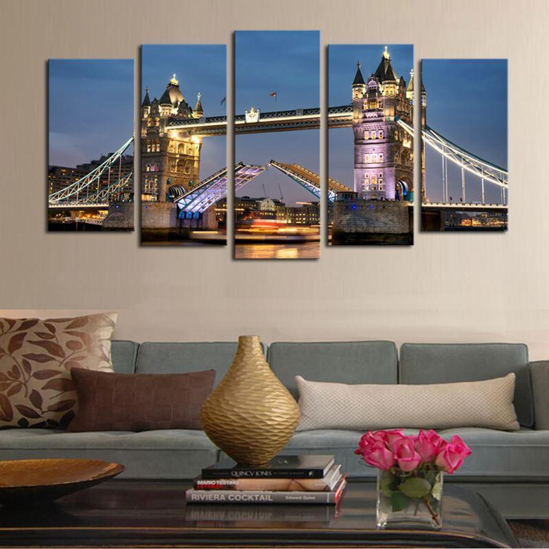 Luxry Unframed 5 Panels Classical Architecture Bridge Scenery Picture Print Painting Canvas Wall Art for Wall Decor Home Decorat