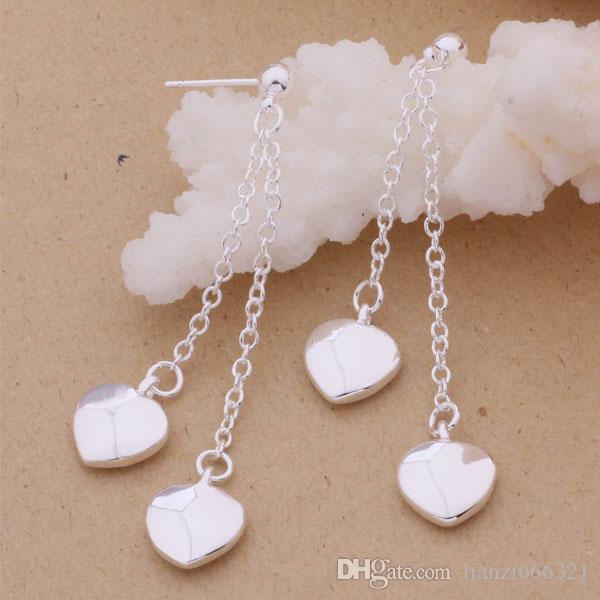 Mode fabricant de bijoux beaucoup Hanging Tassel Heart boucles d'oreilles en argent sterling 925 usine de bijoux Fashion Shine Earrings