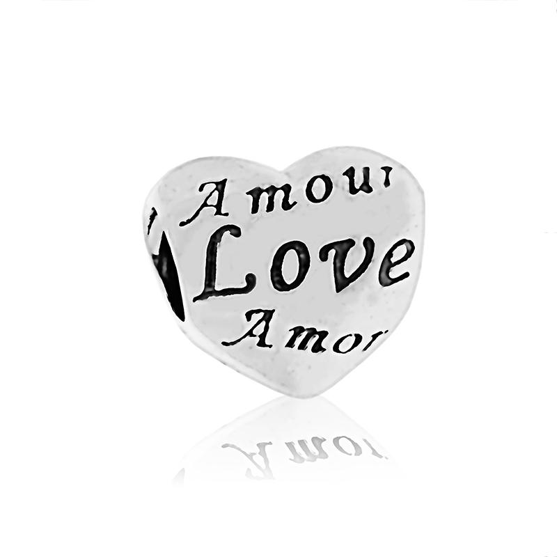 100% 925 Sterling Silver Love Heart Charm Bead Passar European Pandora Smycken Armband