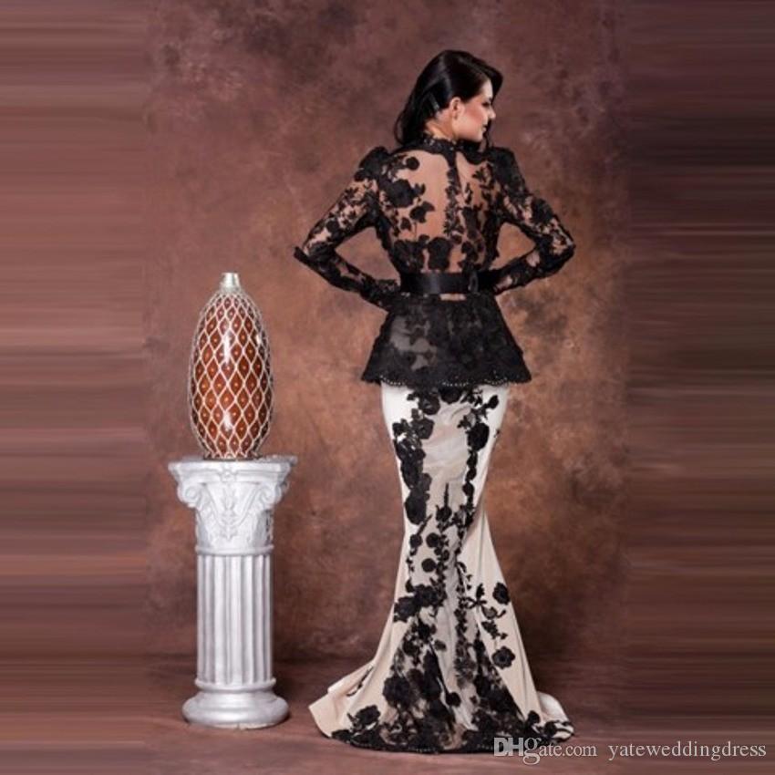 Saoedi-Arabië zeemeermin lange avondjurk lange mouwen prom dress robe de soiree lange zwart en wit kant avondjurken moeder van bruidsjurk
