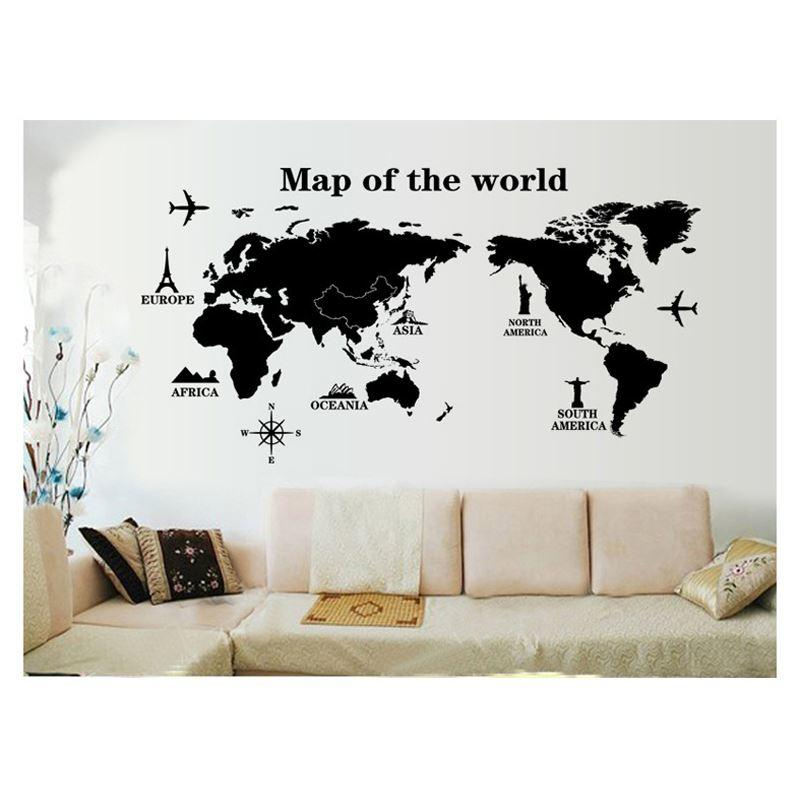 World Map Travel Dream Record Wall Sticker Home Decor Art Door Sofa TV Decoration Decals Windows Living Room