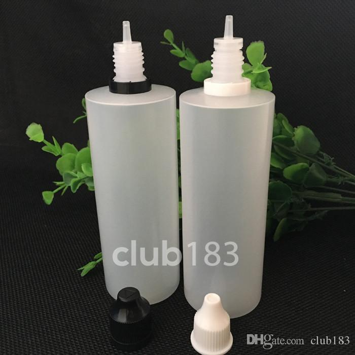 freies Verschiffen Plastikflaschen E-Zigarette Kind manipulationssicher Kappe und lange dünne Tropfspitze 120ML PE Kunststoff Tropfflaschen