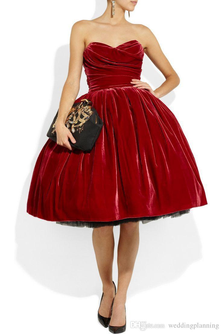 Vintage Velvet Ball Gown Cocktail Dresses Strapless Off The Shoulder Gowns Sleeveless Knee Length Pleats High Quality Short Cocktail Dresses