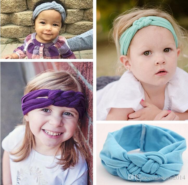 le bambine intrecciate nodo intrecciato turbante fascia elastica capelli testa fasce avvolge fasce accessori scrunchy turbante 2015