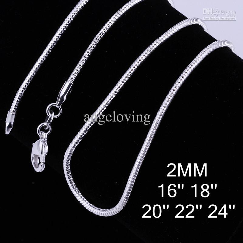 Смешанный размер 925 стерлингового серебра 2 мм гладкой змея цепи ожерелье 16-24 дюймов Бесплатная доставка