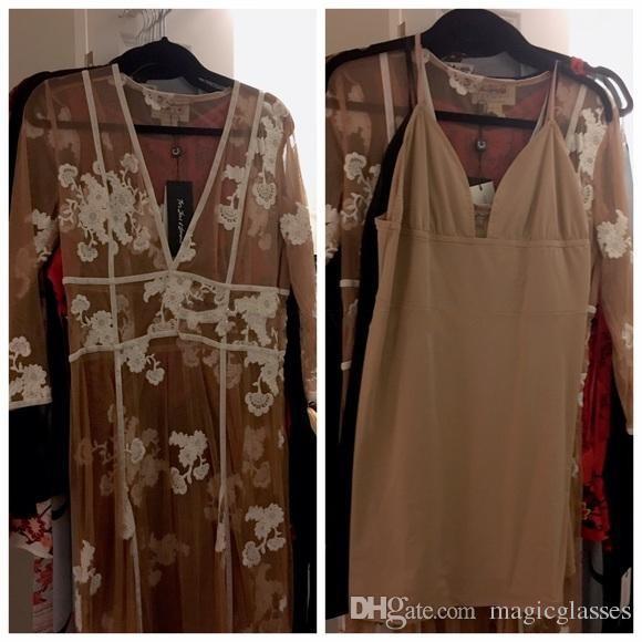 Abiti da sera Boho sexy scollo a V 3/4 maniche lunghe applicazioni floreali Tulle bianco Tan Beach abito da donna lunghezza del pavimento Illusion Prom Dresses