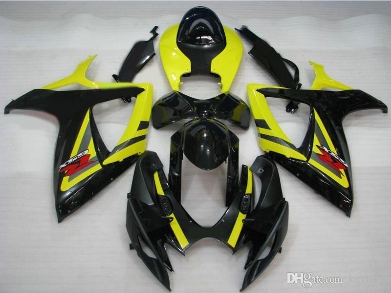 Aangepaste carrosserie voor Suzuki GSXR 600 750 06 07 Fairing Kit GSX-R600 R750 2006 2007 Zwart / Geel Motocycle
