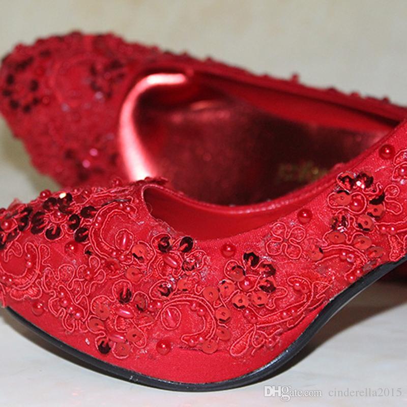 Rote Brautschuhe Glitter Pageant Kleid Schuhe 3 Zoll High Heel Prom Party Schuhe Hochzeit Brautjungfer Schuhe Frauen Programm Pumpen