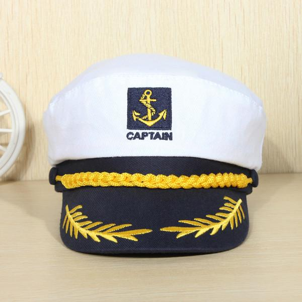 Romania Style Unisex Peaked Skipper Sailors Navy Seafarers Captain Boating Cotton Hat Cap Adult Fancy Dress