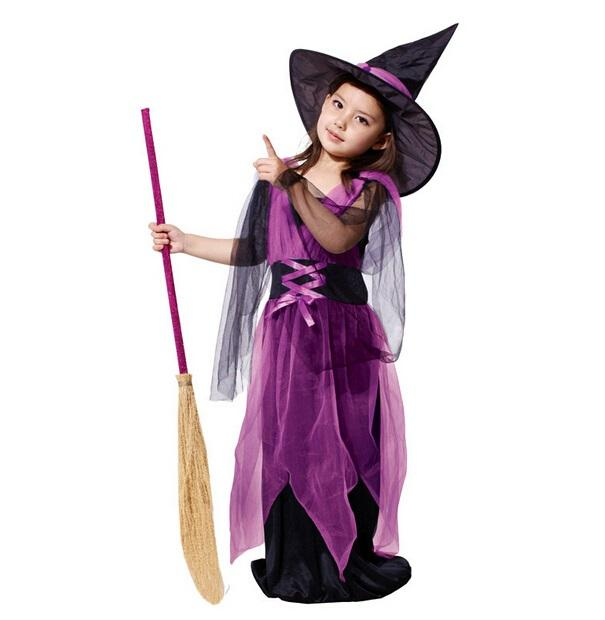 halloween costumes children kids girls dance party evening princess dress little witch queen clothes uniform purple in stock witch girl witch costumes for